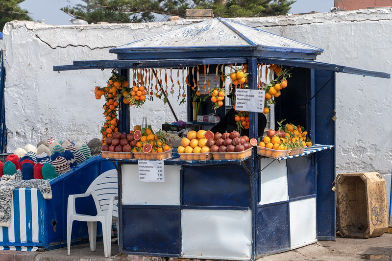 Fruit juice stand in Essaouira, Morocco