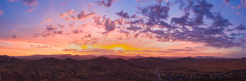 Sunrise panorama over the sonoran desert