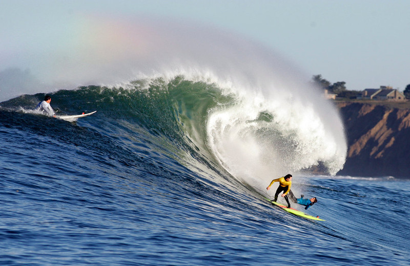 """. Ken \""""Skindog\"""" Collins watches Rusty Long wii out on a wave during Round One of the Maverick\'s Invitational surf contest Sunday, Jan. 20, 2013 at  Princeton by the Sea, Calif. (Karl Mondon/Staff)"""