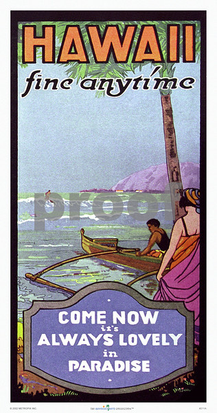 """211: Print or poster of vintage Hawaiian travel brochure cover - """"Hawaii, Fine Anytime - Come Now It's Always Lovely In Paradise."""" Travel Brochure, Ca. 1928. (PROOF watermark will not appear on your print)"""