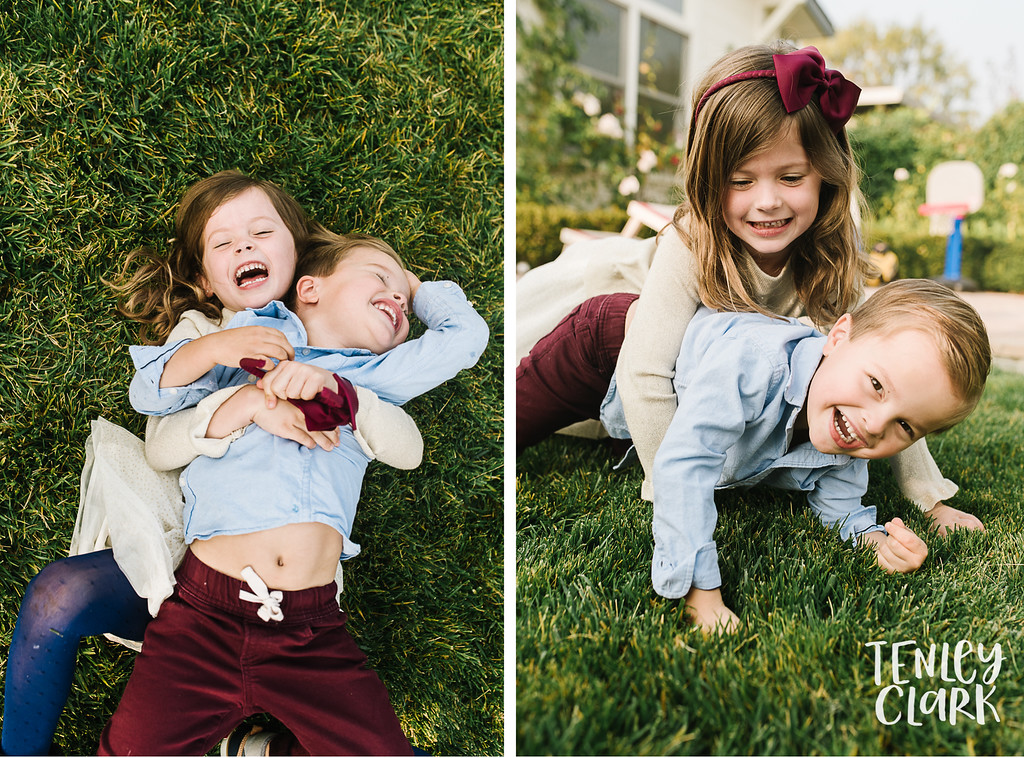 Sibling tackle. Lifestyle in-home family photoshoot in Marin, CA by Tenley Clark Photography.