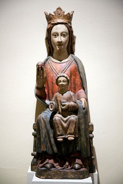 Sculpture of the Virgin with Baby Jesus, by anonymous author (15th century, Castile), Fine Arts Museum, Seville, Spain