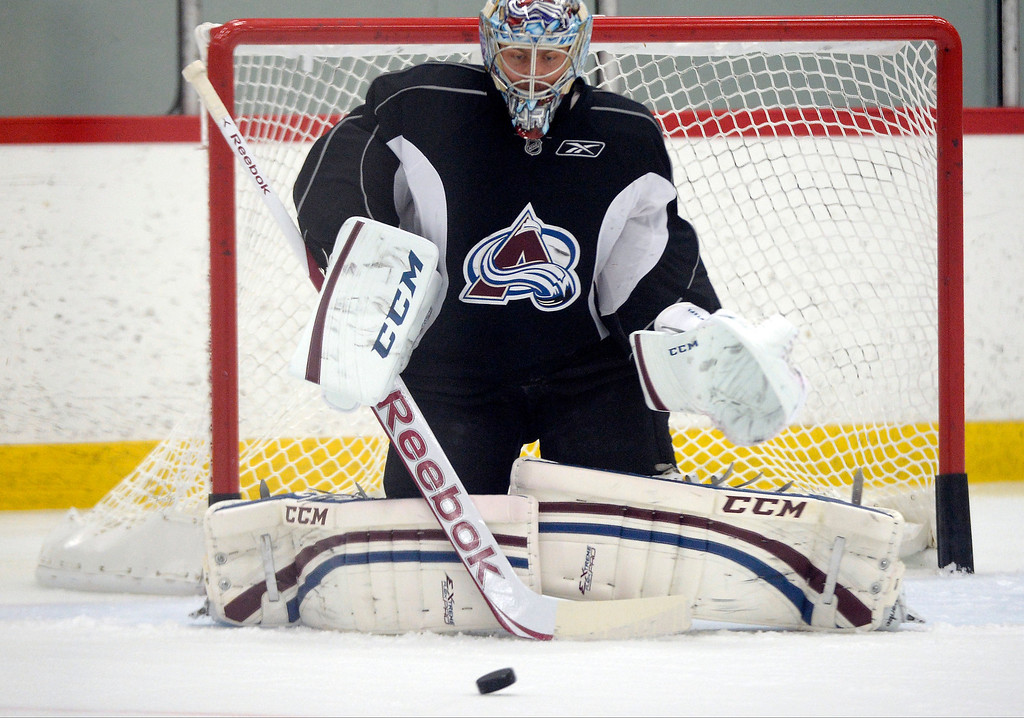 . Colorado Avalanche G Semyon Varlamov (1) makes a save during practice September 9, 2013 at Family Sports Ice Arena. (Photo By John Leyba/The Denver Post)