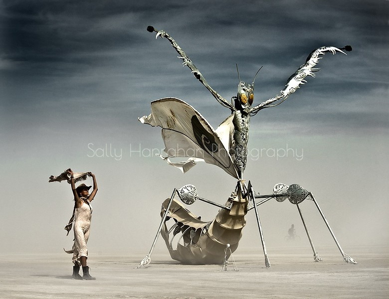 Sally and Flying Mantis at Burning Man