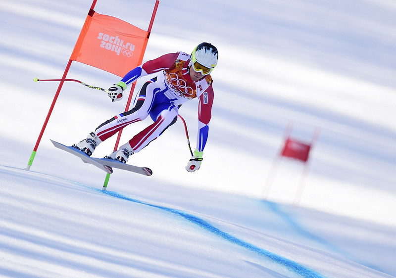 . France\'s Alexis Pinturault competes during the Men\'s Alpine Skiing Super Combined Downhill at the Rosa Khutor Alpine Center during the Sochi Winter Olympics on February 14, 2014.  (OLIVIER MORIN/AFP/Getty Images)