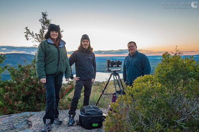 Violet Angell, Peter Chang of www.gg3d.com, and Dustin Farrell of www.crewwestinc.com shooting a 3D sunset timelapse for IMAX on Cadillac Mountain in Acadia National Park