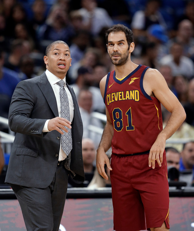 . Cleveland Cavaliers coach Tyronn Lue, left, gives instructions to Jose Calderon during the first half of the team\'s NBA preseason basketball game against the Orlando Magic, Friday, Oct. 13, 2017, in Orlando, Fla. (AP Photo/John Raoux)