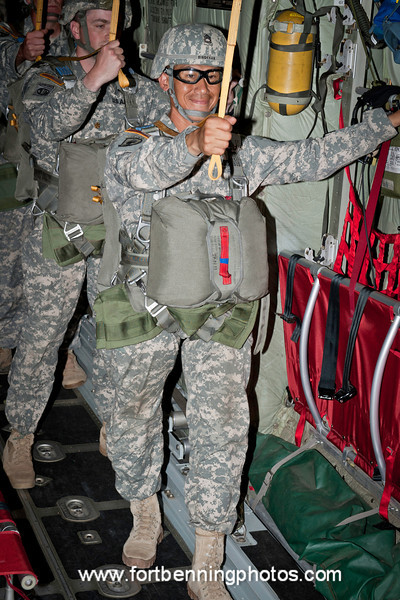 2011-05-11 (FORT BENNING, GA)  Soldiers and other qualifying servicemembers conduct their fifth and final jump during Airborne School's jump week. McCarthy Hall and Fryar Drop Zone.  Photo by Susanna Avery-Lynch - susanna.lynch@us.army.mil