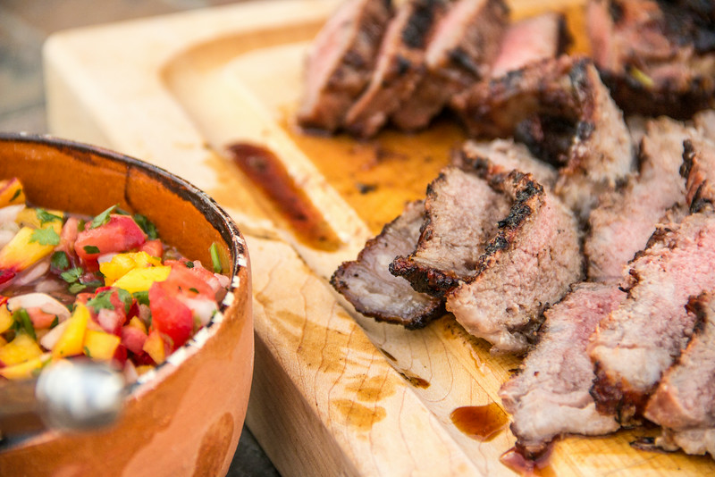 "Grilled Steak & Peach Salsa Topping for Summeripe ""Urban Street"" Tacos with Peach Salsa"