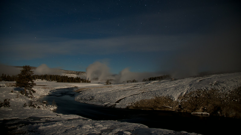 Geysers at night