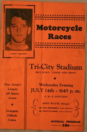 Tri-City Stadium was a motorcycle and midget car race track that existed from 1933 to 1941 on Mill Road on the site where Garden State Bowling alley was. The track was named Tri-City due to the fact that racers would drive through Union, Irvington and Hillside as they sped around the course. This fact is currently in dispute and we have our researchers looking into it. We will keep you posted. Link to a story about a championship race held in 1935: http://www.speedwayplus.com/EasternChampionship.shtml