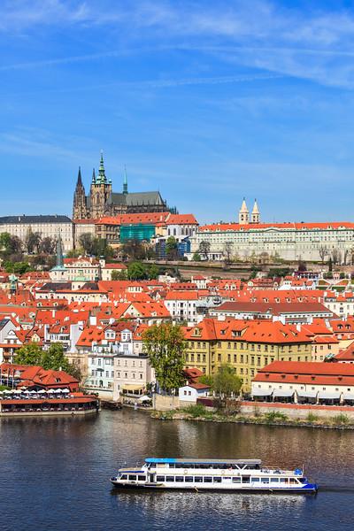 View of Mala Strana and  Prague castle over Vltava river