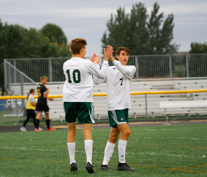 Holy Family Boys Varsity Soccer vs. Hutchinson, 9/26/19: Ben Creager '20 (10)  & Finn Dowling '21 (7)