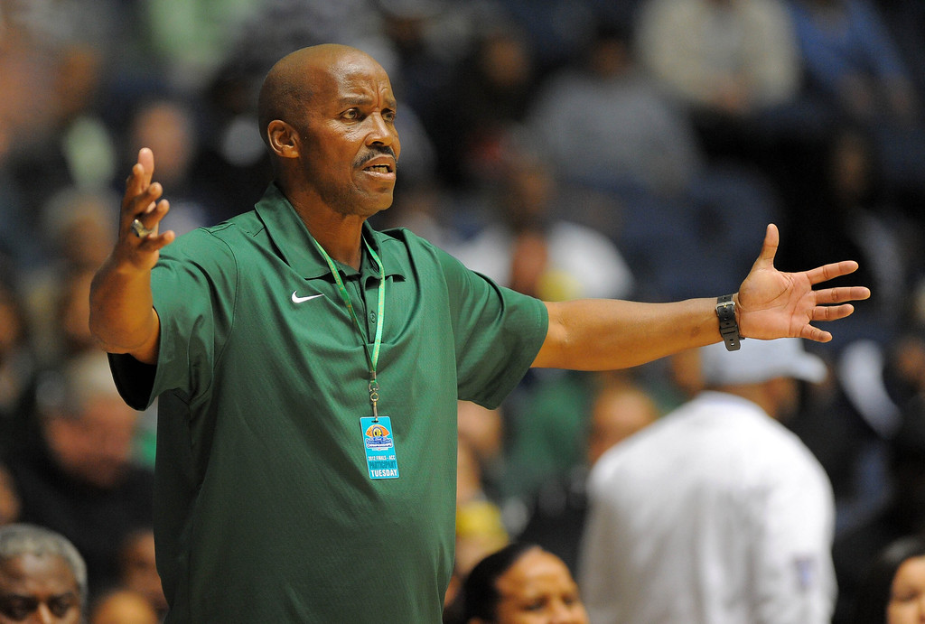 . ANAHEIM - 02/28/12 - (Scott Varley / LANG Staff Photographer) Long Beach Poly vs Brea-Olinda in the CIF Division 1AA girls semifinal at the Anaheim Arena. 2nd half. Brea-Olinda won 49-43. Poly coach Carl Buggs questions a call.