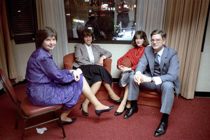 Sharon McMahon (blue), Kathleen Feeney (red), Blake Netherwood.  Ca. May, 1986.