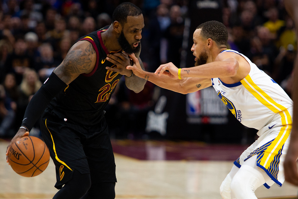 . LeBron James of the Cleveland Cavaliers takes on Steph Curry of the Golden State Warriors during game 3 of the 2018 NBA Finals on June 6, 2018. Michael Johnson/ The News Herald