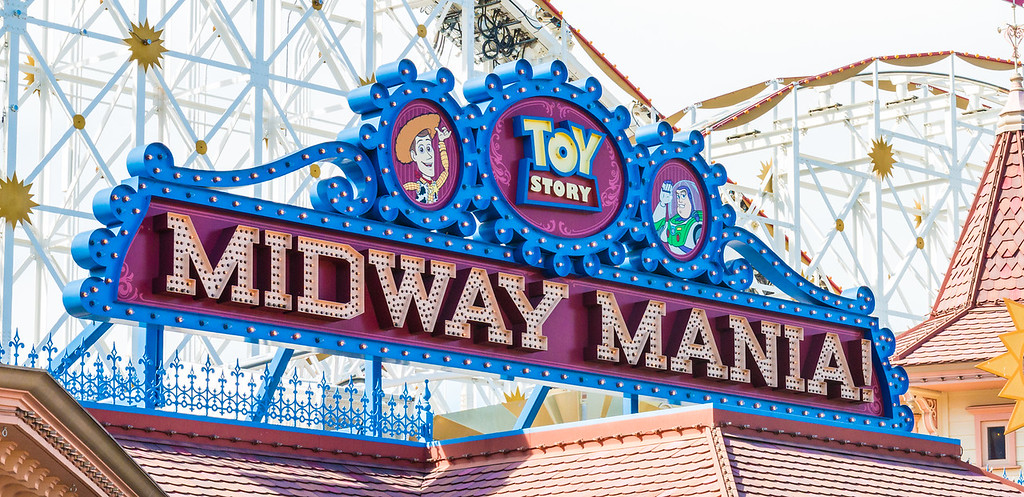 Toy Story Midway Mania ride at Disney California Adventure