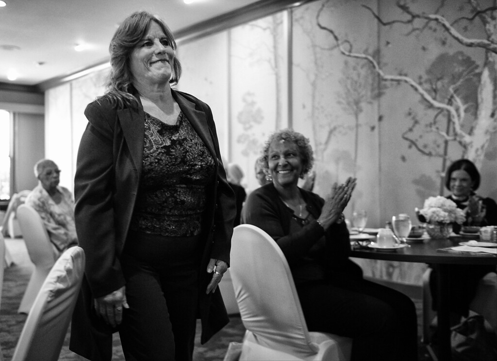 . Dorothy heads to the podium to speak about being homeless and her recovery during a women\'s tea at The Women\'s City Club of Pasadena.