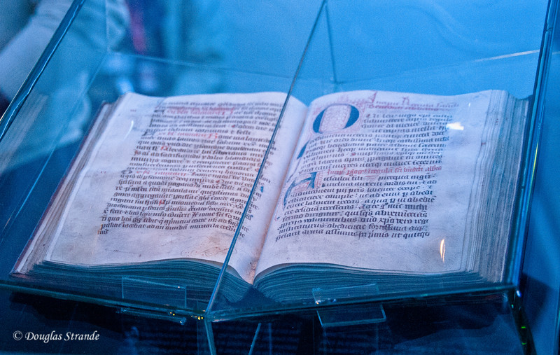 Historic hand-written book on display at Melk Abbey