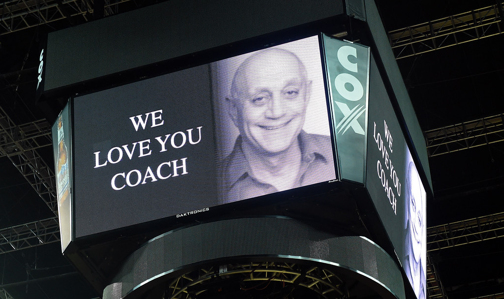 . The scoreboard at the Thomas & Mack Center displays a message in support of former UNLV head basketball coach Jerry Tarkanian before a game between the Fresno State Bulldogs and the UNLV Rebels on February 10, 2015 in Las Vegas, Nevada.  (Photo by Ethan Miller/Getty Images)