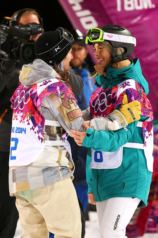 . Bronze medalist Kelly Clark of the United States and silver medalist Torah Bright of Australia celebrate after the Snowboard Women\'s Halfpipe Finals on day five of the Sochi 2014 Winter Olympics at Rosa Khutor Extreme Park on February 12, 2014 in Sochi, Russia.  (Photo by Mike Ehrmann/Getty Images)