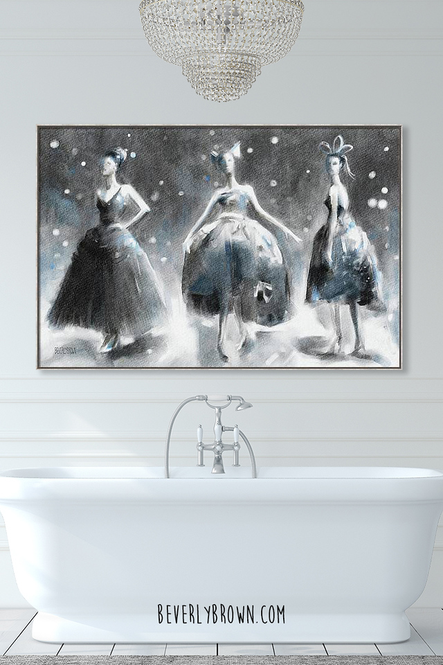 Vintage glam wall art by Beverly Brown over a freestanding bathtub in chic white bathroom.