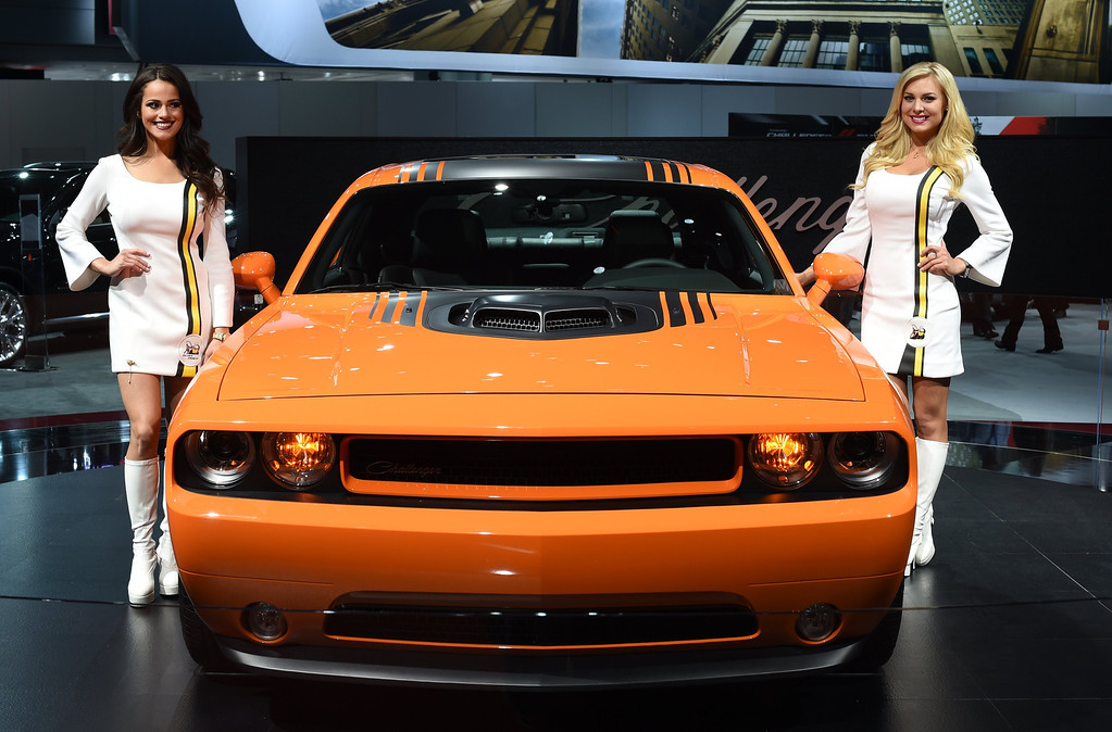 . The 2014 Dodge Challenger on display during the first press preview day at the 2014 New York International Auto Show  April16, 2014  in New York at the Jacob Javits Center.  The show opens to the public on April 18 and runs through the 27th.  AFP PHOTO / Timothy A. Clary/AFP/Getty Images