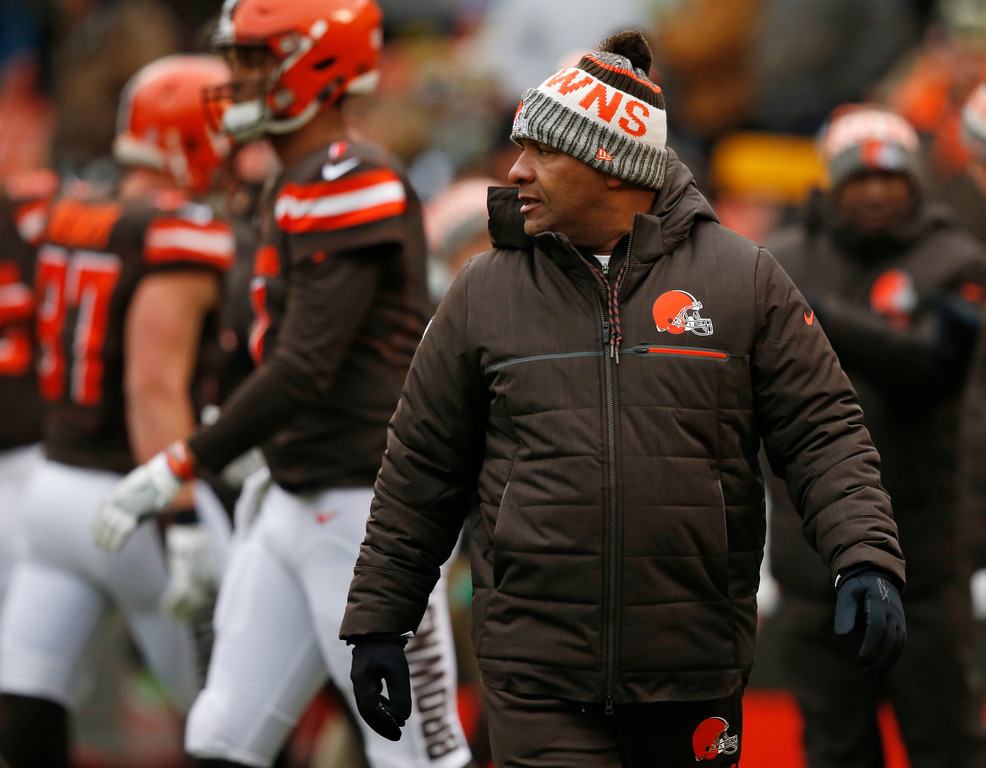 . Cleveland Browns head coach Hue Jackson watches during warm ups before an NFL football game between the Green Bay Packers and the Cleveland Browns, Sunday, Dec. 10, 2017, in Cleveland. (AP Photo/Ron Schwane)