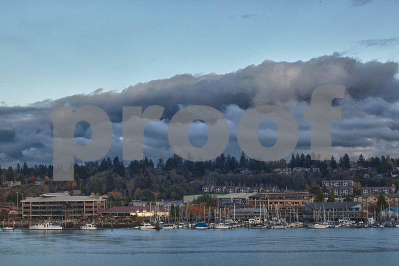 The view northeast to Fiddlehead Marina on the eastern shores of Budd Inlet in Olympia, WA.