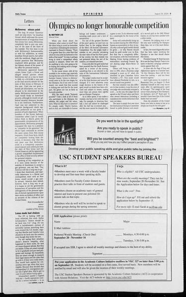 Daily Trojan, Vol. 153, No. 4, August 26, 2004