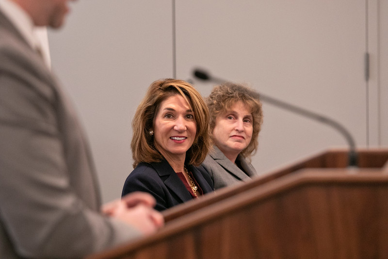 The Lt. Gov. Karyn Polito was on hand in Fitchburg for the Complete Streets Funding Program Awards FY20 Tuesday, Jan. 28, 2020. Polito Listens to the State Highway Administrator Jonathan Gulliver during the event. Next to the Lt. Gov. is Secretary of Transportation Stephanie pollack. SENTINEL & ENTERPRISE/JOHN LOVE