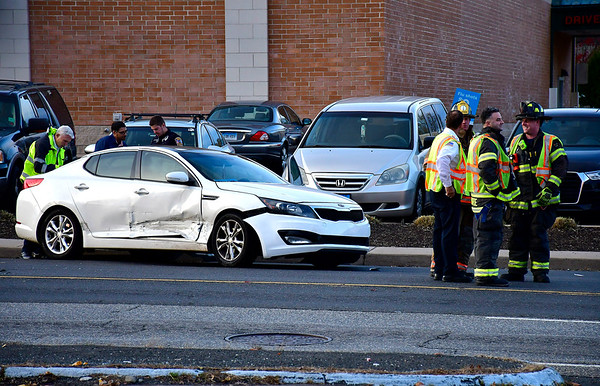 11/7/2018 Mike Orazzi | Staff One of the three vehicles involved in a crash at the intersection of Route 6 and King Street in Bristol Wednesday afternoon. No serious injuries were reported.