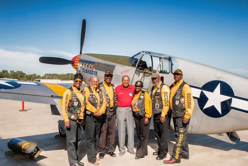 Dr. Harold Brown and members of the Buffalo Soldiers Motorcycle Club, Toledo Chapter, at the Liberty Aviation Museum in Port Clinton Ohio.