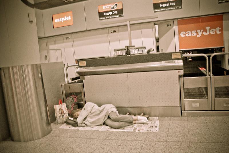 sleeping in the airport in line.jpg