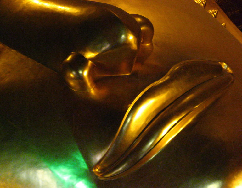 Reclining Buddha's lips at Wat Pho.