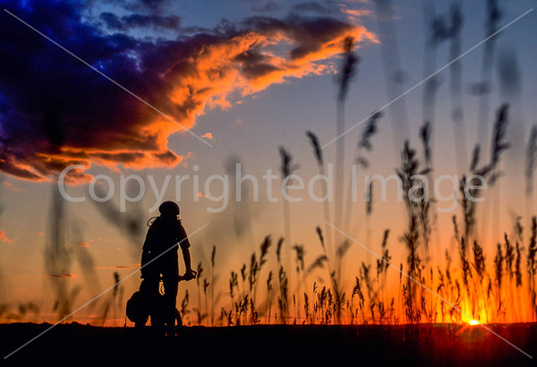Cyclist in Badlands National Park