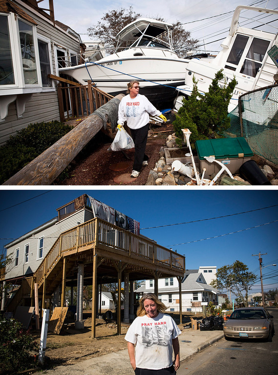 . HIGHLANDS, NJ - NOVEMBER 1:  (top) Regina Yahara-Splain cleans out her home after it was damaged by Superstorm Sandy on November 1, 2012 in Highlands, New Jersey. HIGHLANDS, NJ - OCTOBER 22:  (bottom) Almost  one year later,  Yahara-Splain poses for a portrait in front of the same home, which she has since raised on stilts to protect it from future storms, October 22, 2013.  Hurricane Sandy made landfall on October 29, 2012 near Brigantine, New Jersey and affected 24 states from Florida to Maine and cost the country an estimated $65 billion.   (Photos by Andrew Burton/Getty Images)