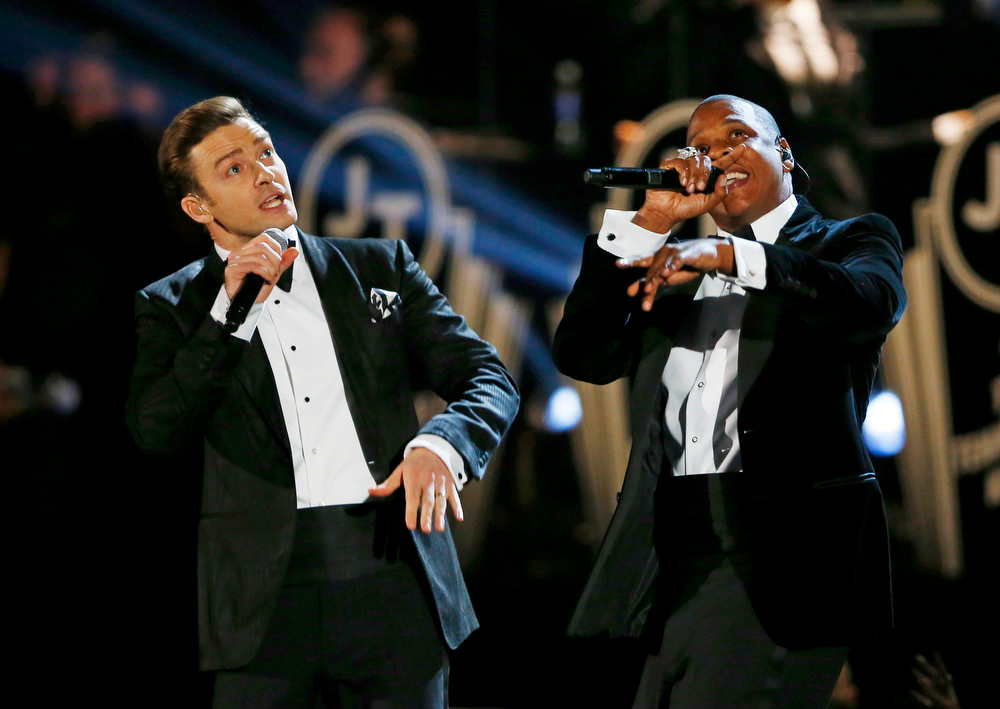 Description of . Justin Timberlake performs with Jay-Z (R) at the 55th annual Grammy Awards in Los Angeles, California, February 10, 2013.  REUTERS/Mike Blake