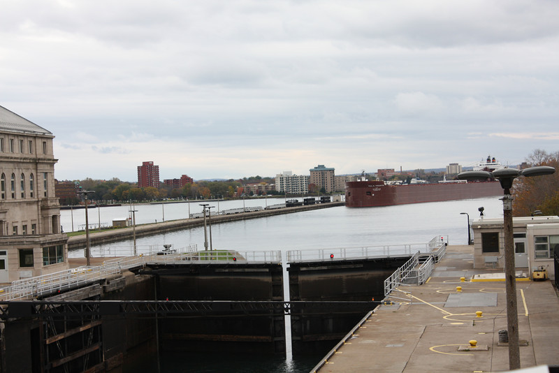 Iron Ore Ship entering lock at Sault Ste Marie