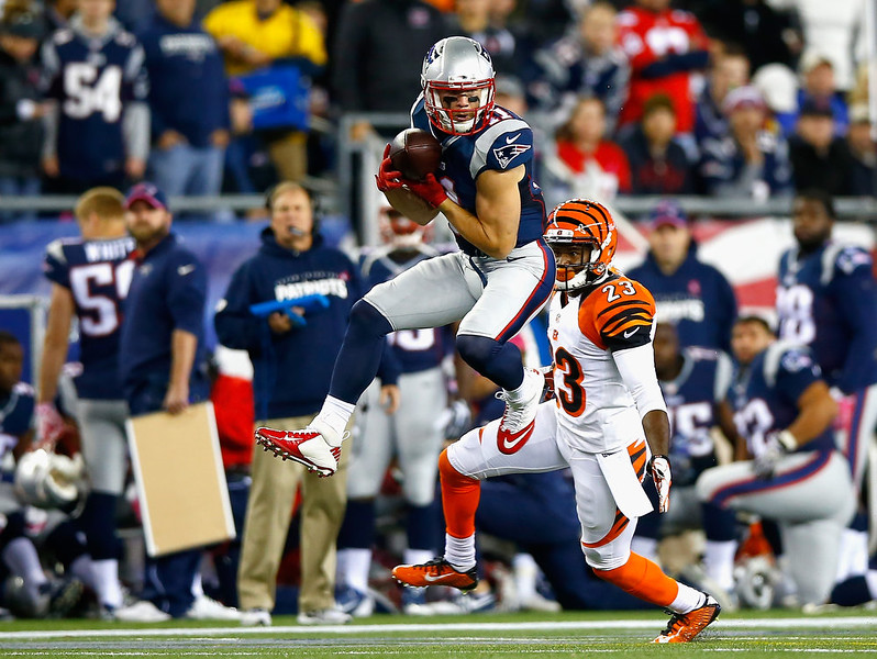 . Julian Edelman #11 of the New England Patriots catches a pass during the first quarter against the Cincinnati Bengals at Gillette Stadium on October 5, 2014 in Foxboro, Massachusetts.  (Photo by Jared Wickerham/Getty Images)