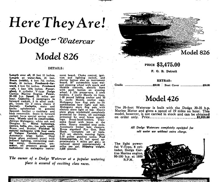 Dodge Model 822 Specs Curtiss Marine Engine