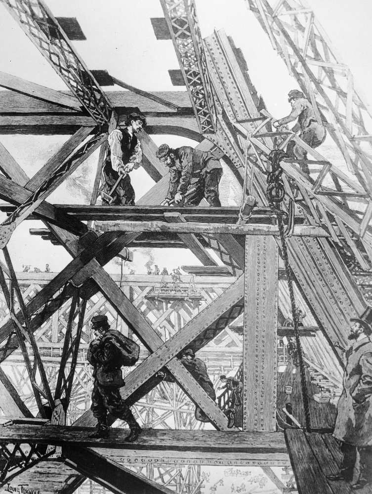 . 1889:  Construction of the Eiffel Tower in progress. The tower was built for the Paris Exhibition of 1889.  (Photo by Three Lions/Getty Images)