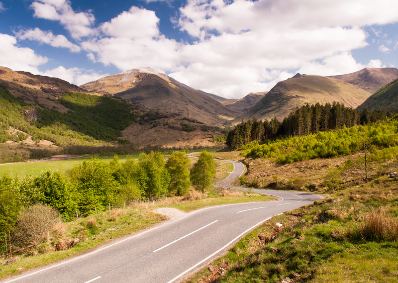 Meandering road in Glen Nevis