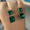 Georgian Double Drop Emerald Paste Earrings 7