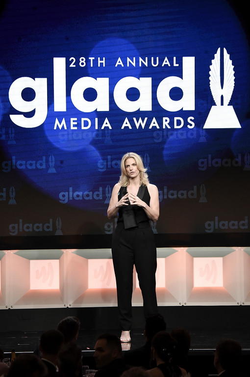 . Sarah Kate Ellis attends the 28th Annual GLAAD Media Awards at the Beverly Hilton Hotel on Saturday, April 1, 2017, in Beverly Hills, Calif. (Photo by Richard Shotwell/Invision/AP)