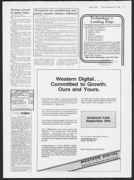 Daily Trojan, Vol. 97, No. 9, September 14, 1984