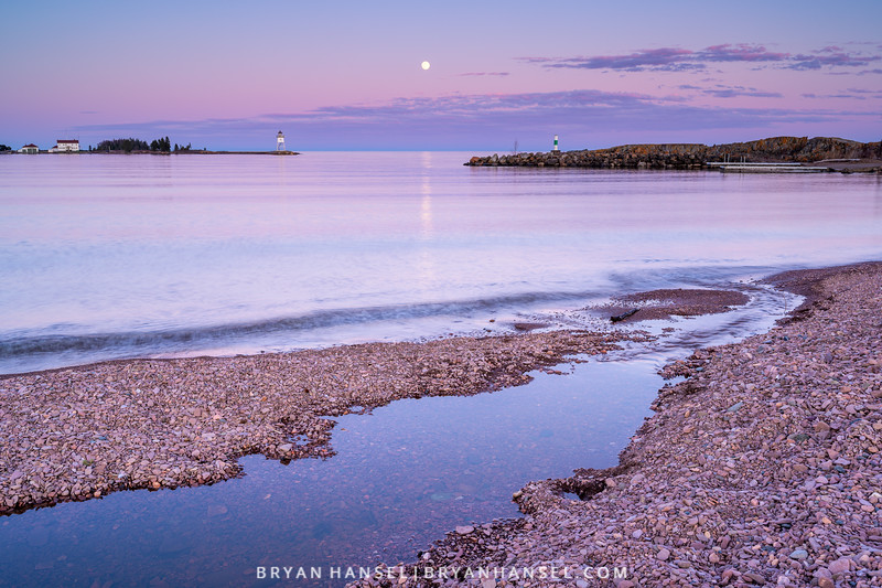 Full Flower Supermoon over the Grand Marais Harbor