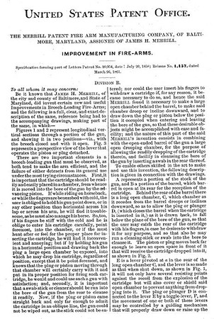 20954 RE 1157 - Improvement in Firearms, assigned to the Merrill Patent Firearms Mfg Co (March 26, 1861)