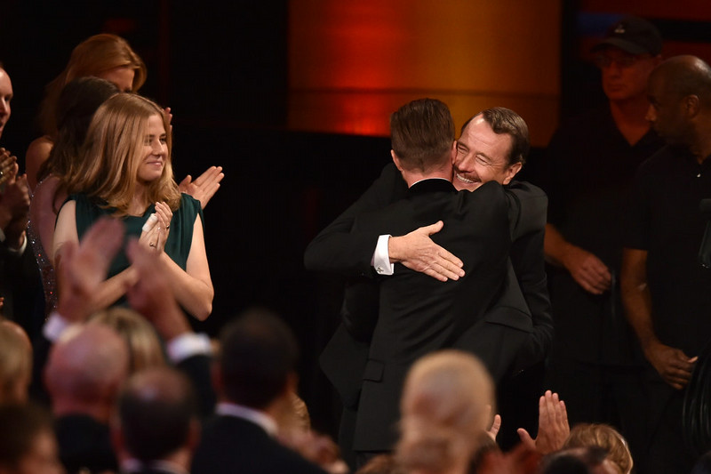 . Actors Bryan Cranston (R) and Aaron Paul celebrate winning Outstanding Drama Series for \'Breaking Bad\' onstage at the 66th Annual Primetime Emmy Awards held at Nokia Theatre L.A. Live on August 25, 2014 in Los Angeles, California.  (Photo by Kevin Winter/Getty Images)