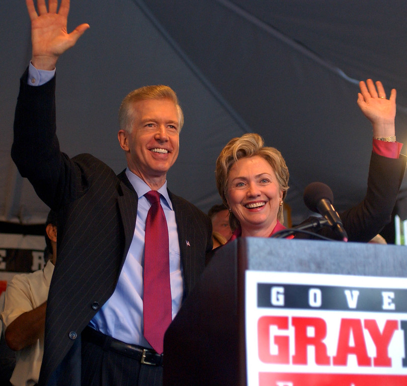 . California Gov. Gray Davis, left, is joined by New York Democratic Sen. Hillary Rodham Clinton during a Get Out the Vote rally held at the Century Plaza Hotel in Los Angeles, Saturday, Oct. 5, 2002.  (AP Photo/Ann Johansson)